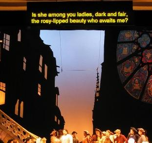 Supertitles over Manon Lescaut at the Todi Music Festival courtesy Digital Tech Services